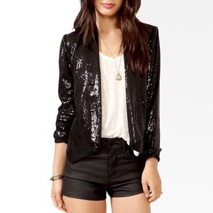 🌟3 for $15🌟 Sequin and faux leather blazer